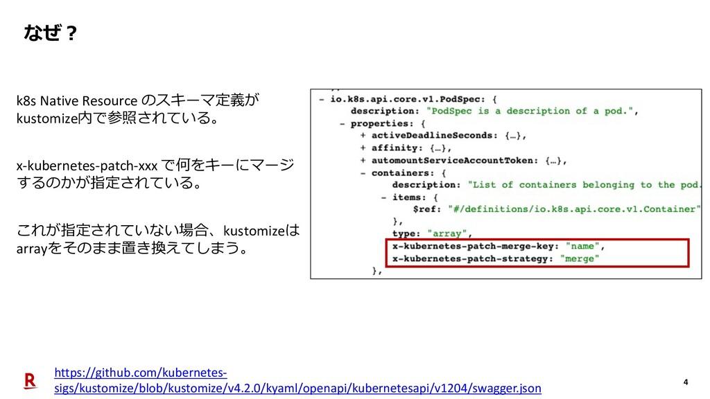 4 なぜ︖ k8s Native Resource のスキーマ定義が kustomize内で参...