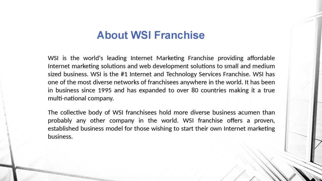 WSI is the world's leading Internet Marketing F...