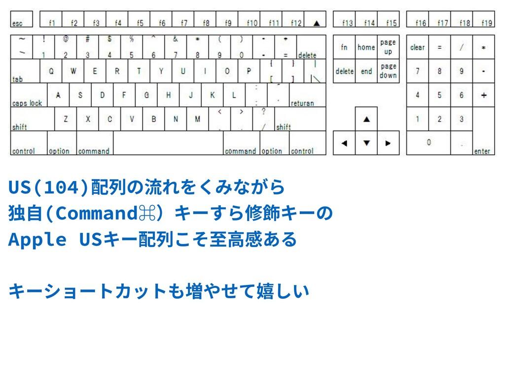 US(104)配列の流れをくみながら 独⾃(Command⌘)キーすら修飾キーの Apple...