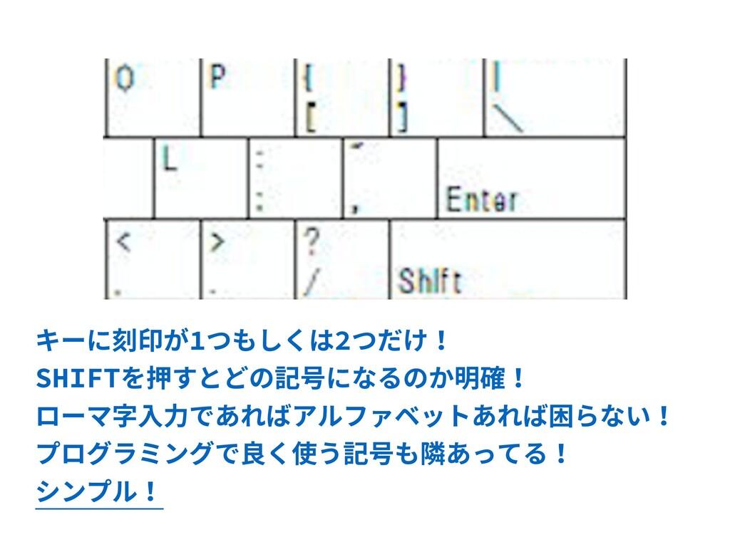 キーに刻印が1つもしくは2つだけ! SHIFTを押すとどの記号になるのか明確! ローマ字⼊⼒で...