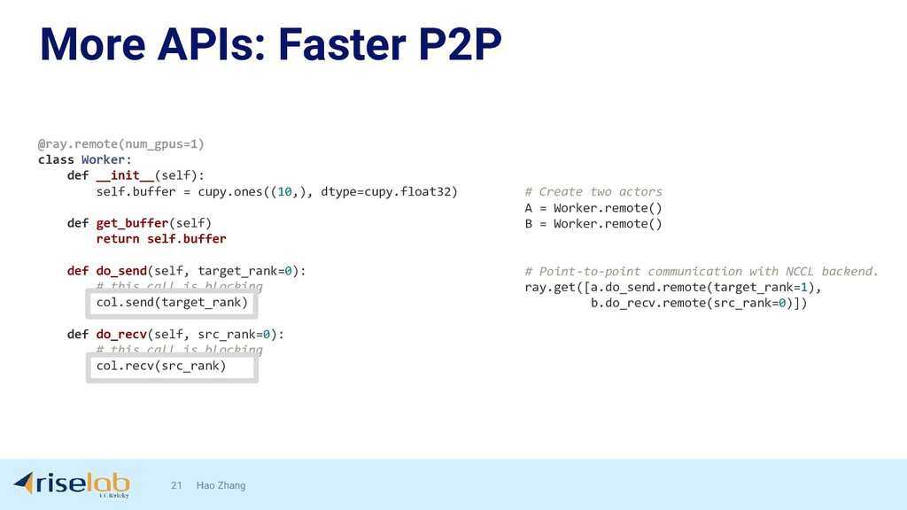 More APIs: Faster P2P 21 Hao Zhang @ray.remote(...