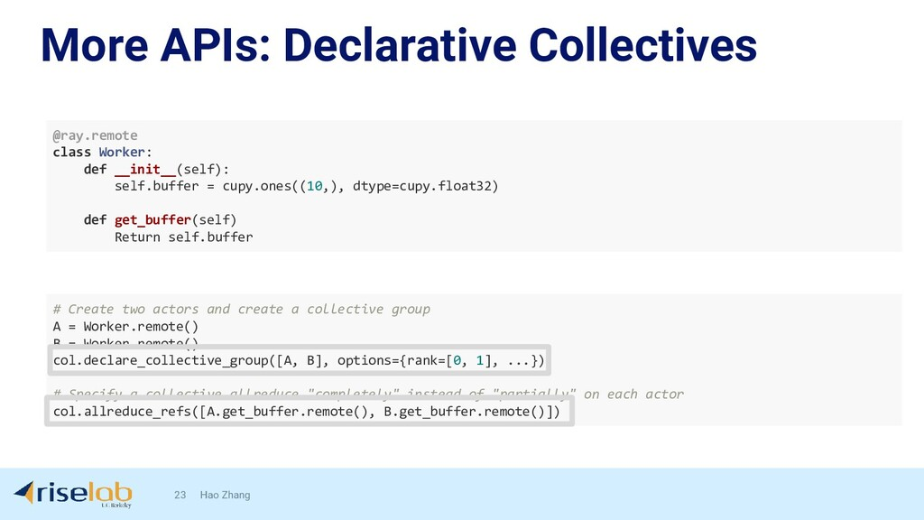 More APIs: Declarative Collectives 23 Hao Zhang...