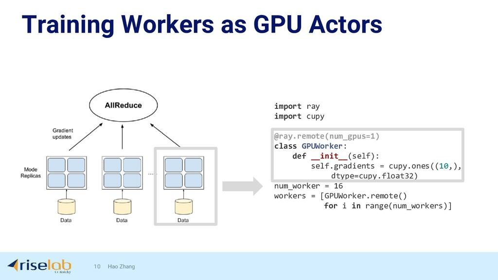 Training Workers as GPU Actors 10 Hao Zhang imp...