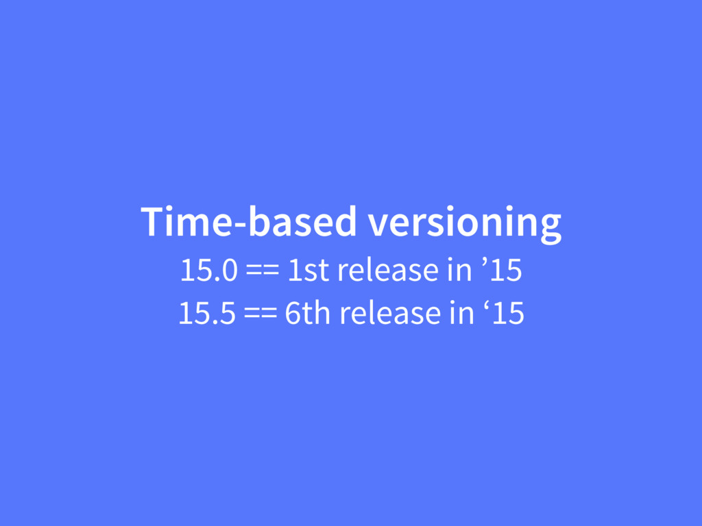 Time-based versioning 15.0 == 1st release in '1...
