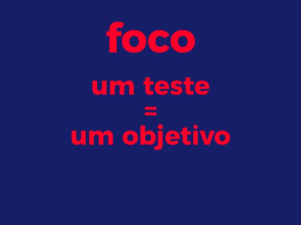 foco um teste = um objetivo