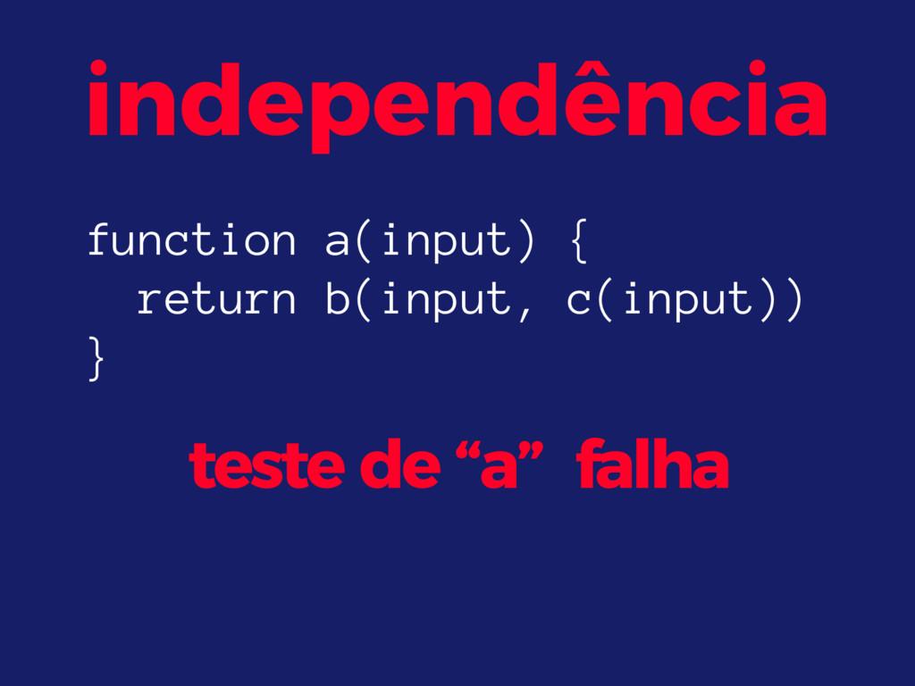 "independência teste de ""a"" falha function a(inp..."