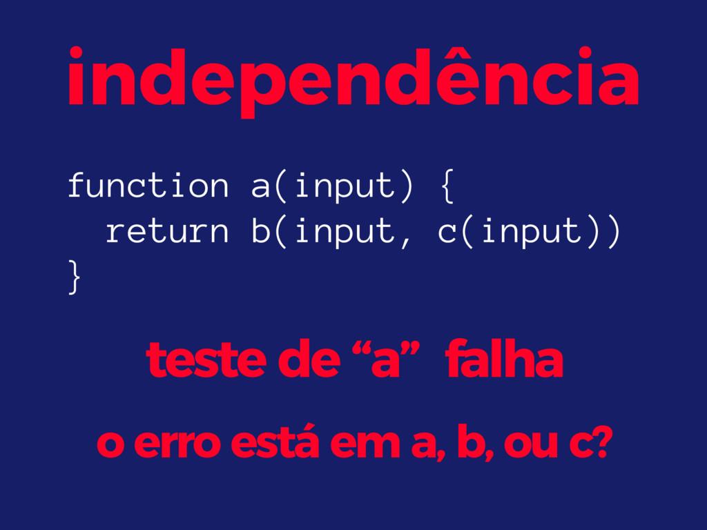 """independência teste de """"a"""" falha o erro está em..."""