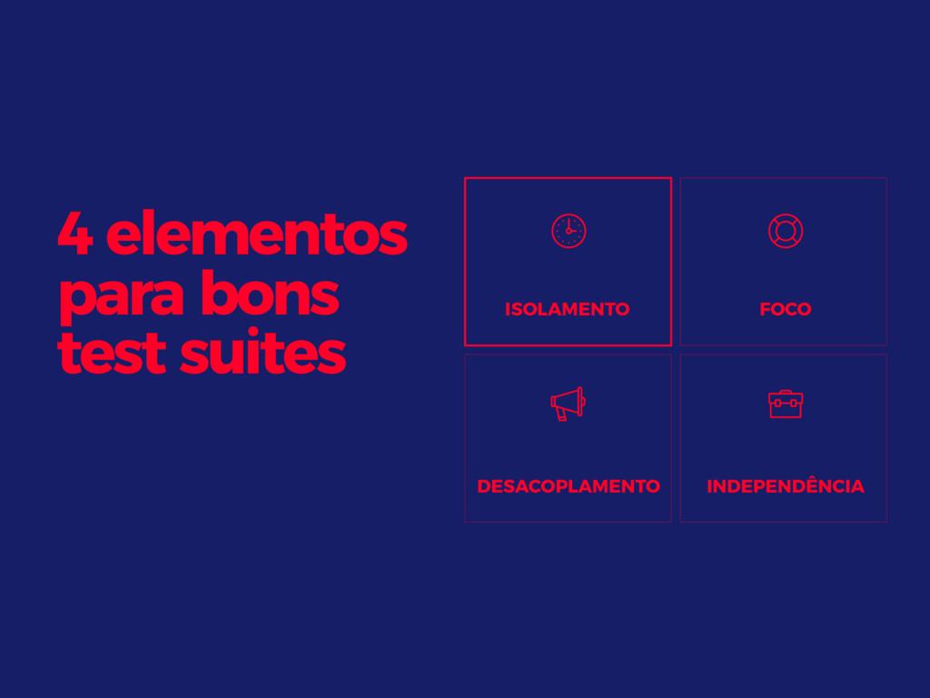 4 elementos para bons test suites ISOLAMENTO FO...