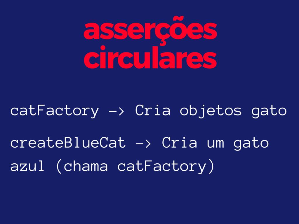 asserções circulares catFactory -> Cria objetos...