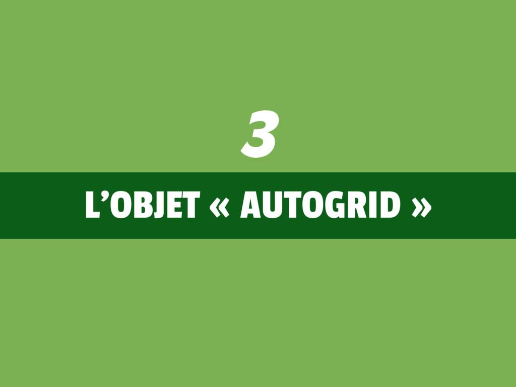 L'OBJET « AUTOGRID » 3