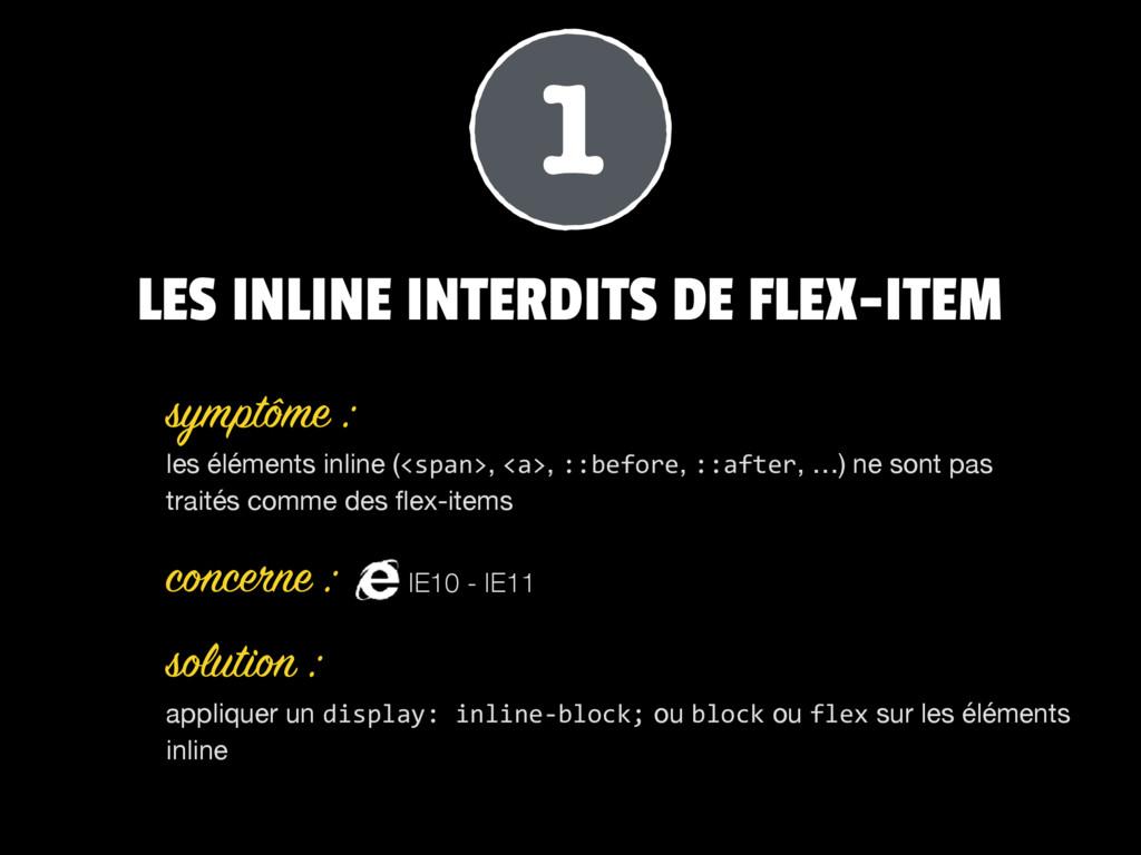 LES INLINE INTERDITS DE FLEX-ITEM les éléments ...