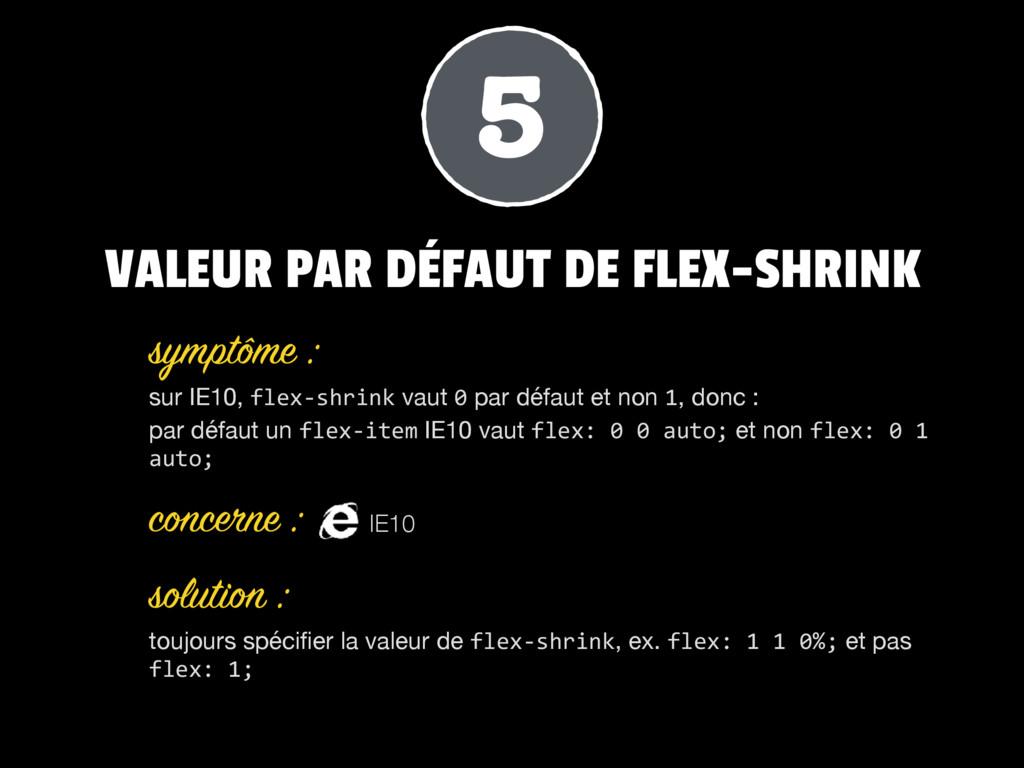 VALEUR PAR DÉFAUT DE FLEX-SHRINK sur IE10, flex...