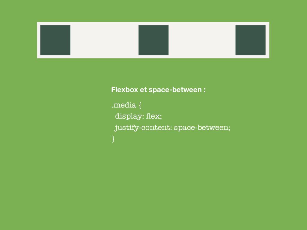 .media { display: flex; justify-content: space-b...