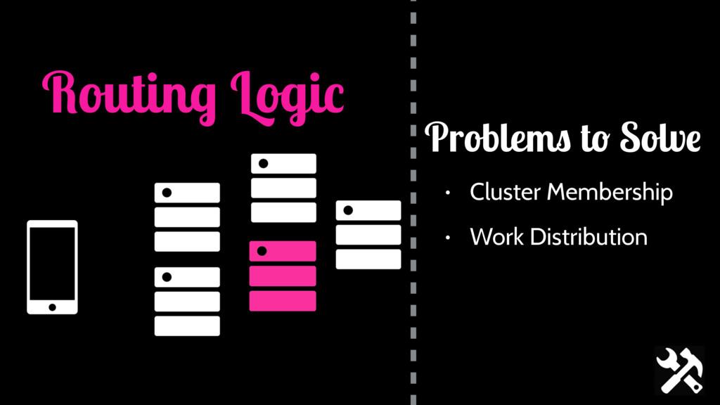 Routing Logic • Cluster Membership • Work Distr...