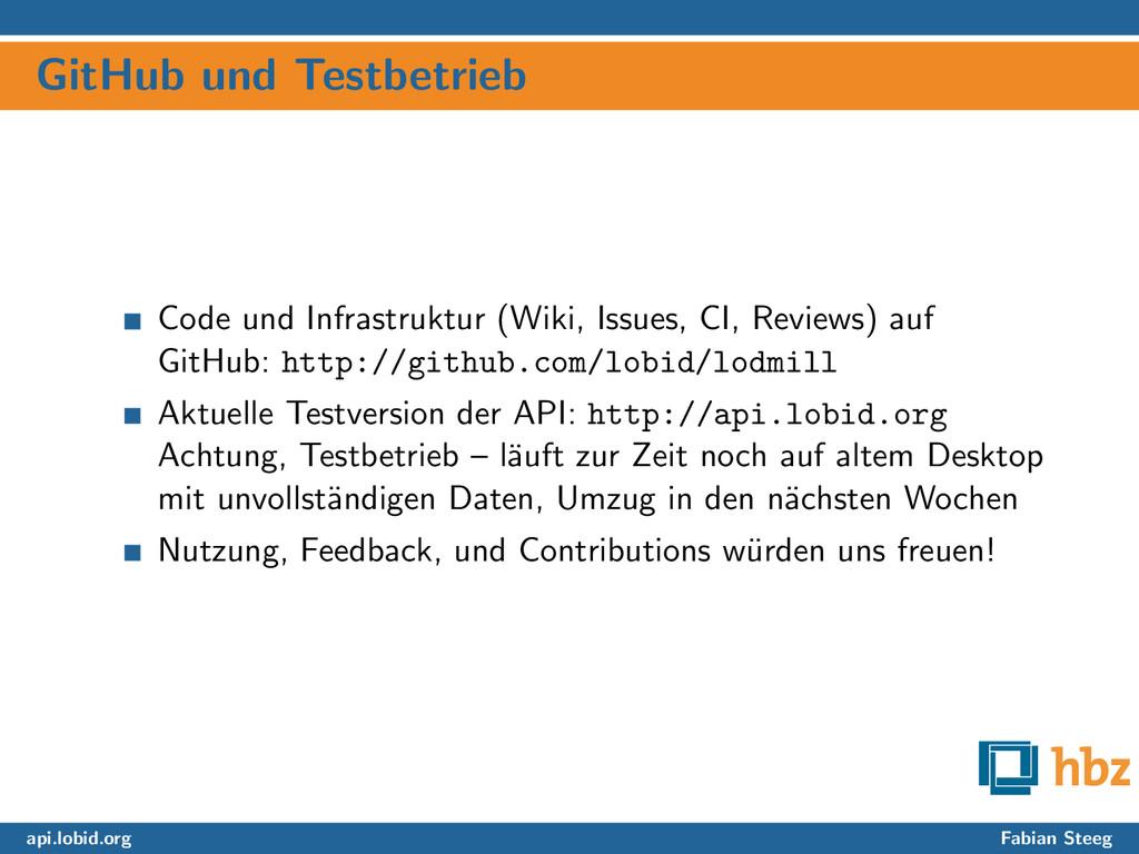 GitHub und Testbetrieb Code und Infrastruktur (...