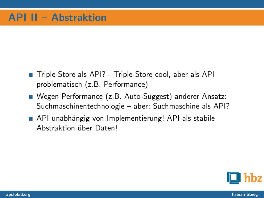 API II – Abstraktion Triple-Store als API? - Tr...