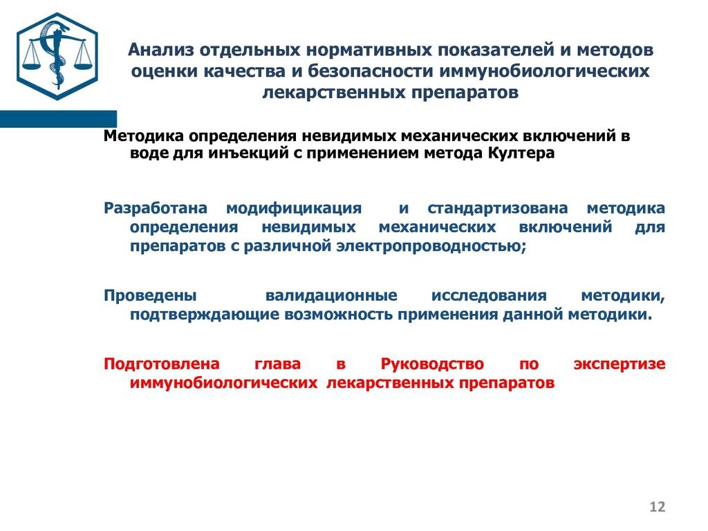 Анализ отдельных нормативных показателей и мето...