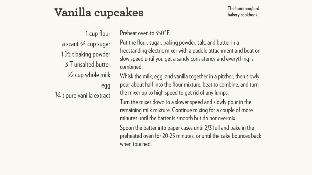1 cup flour a scant ¾ cup sugar 1 ½ t baking pow...