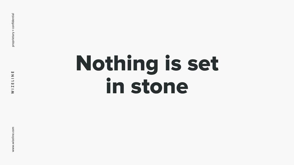 W I Z E L I N E Nothing is set in stone