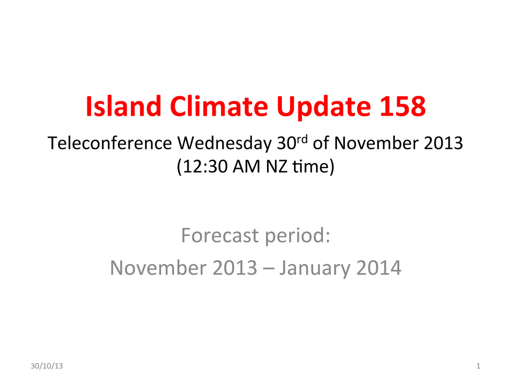 Island Climate Update 158  Forecast...