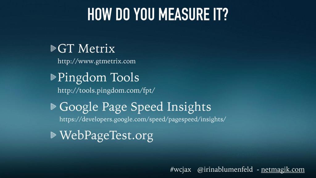 GT Metrix http://www.gtmetrix.com Pingdom Tool...