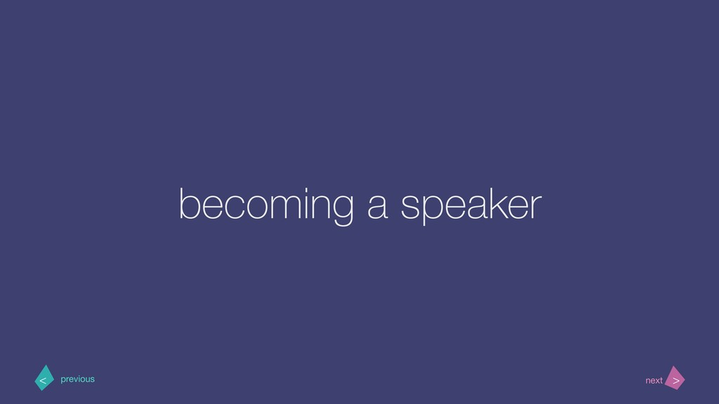 becoming a speaker > < next previous