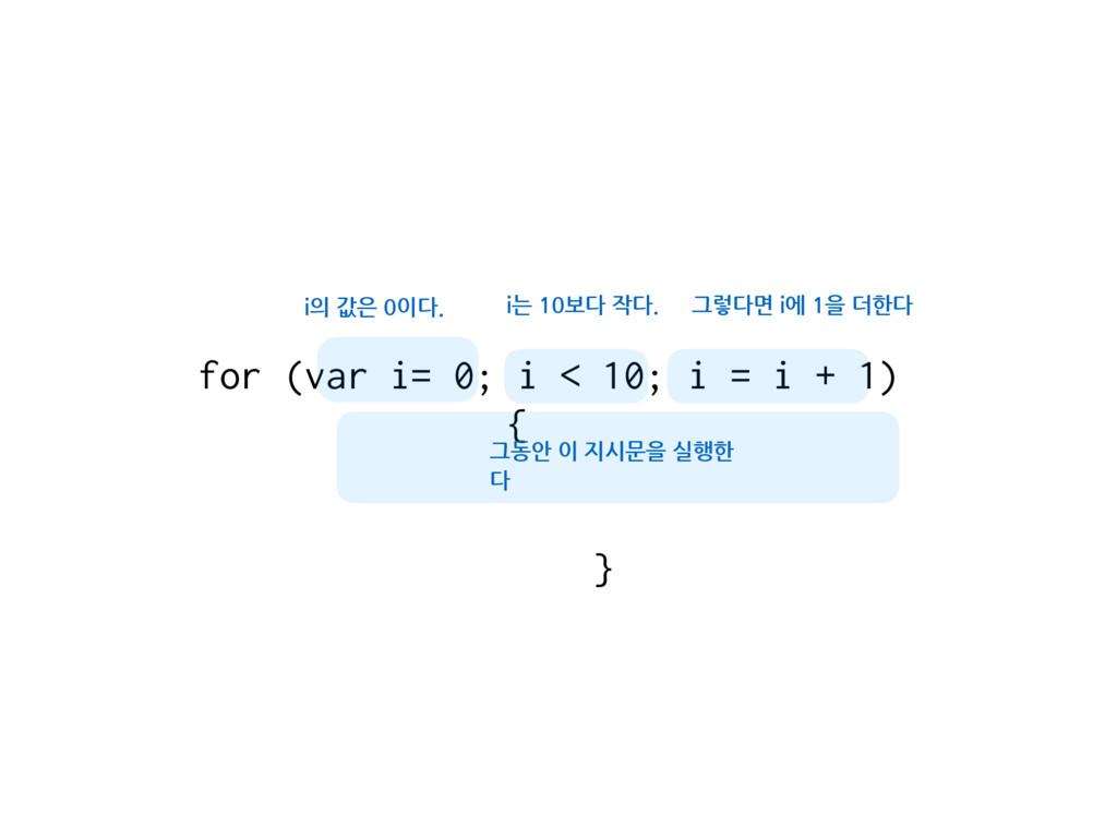 for (var i= 0; i < 10; i = i + 1) { } i의 값은 0이다...
