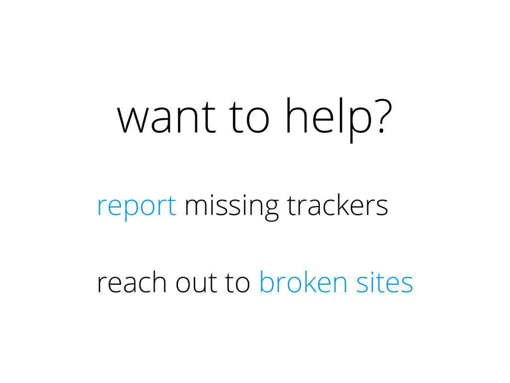 want to help? report missing trackers reach out...