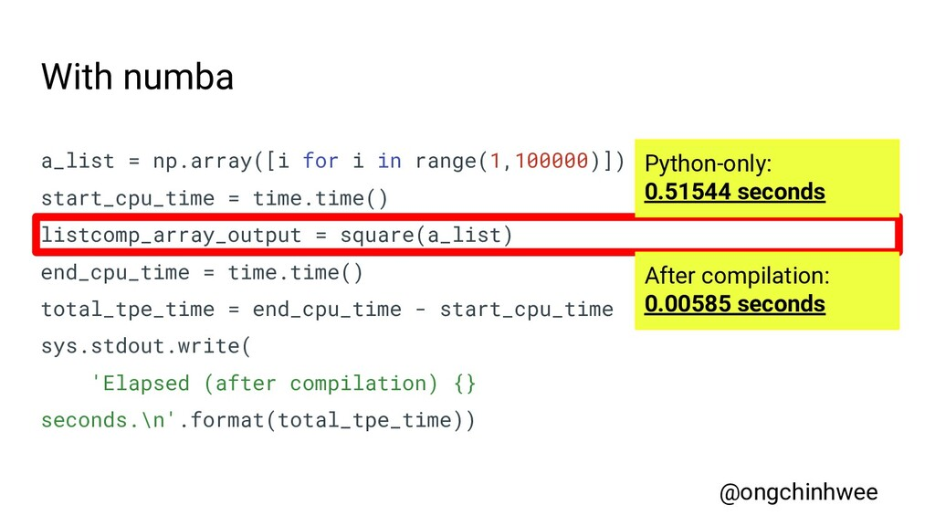 With numba a_list = np.array([i for i in range(...