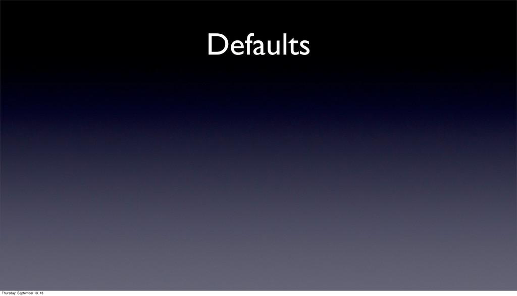 Defaults Thursday, September 19, 13