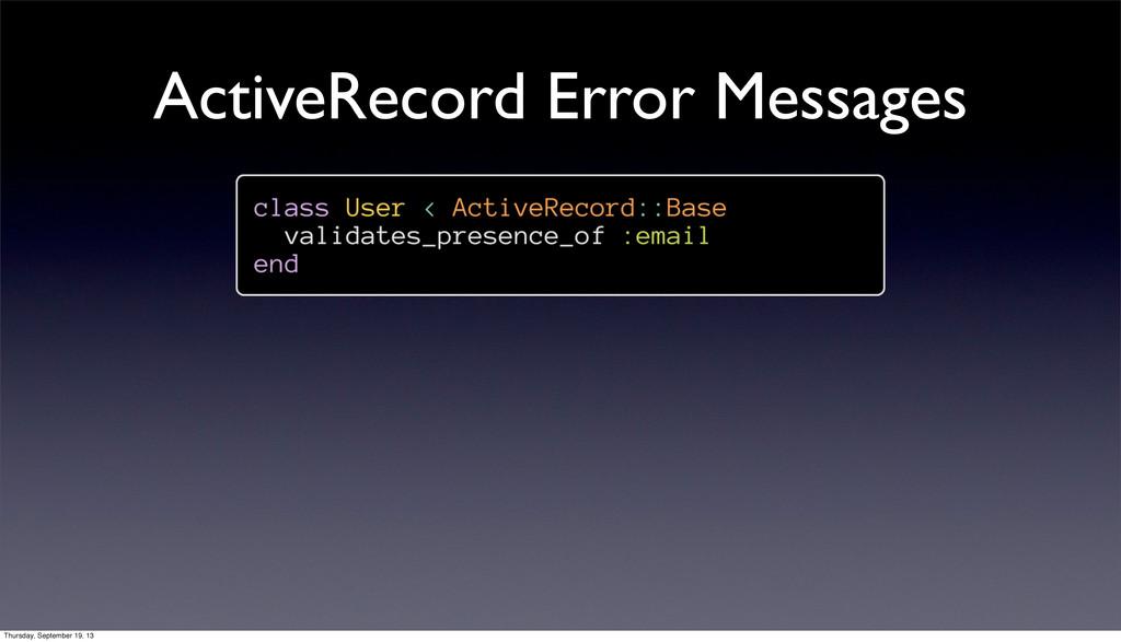 ActiveRecord Error Messages Thursday, September...