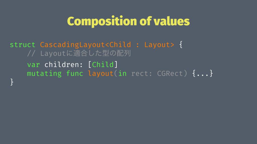 Composition of values struct CascadingLayout<Ch...