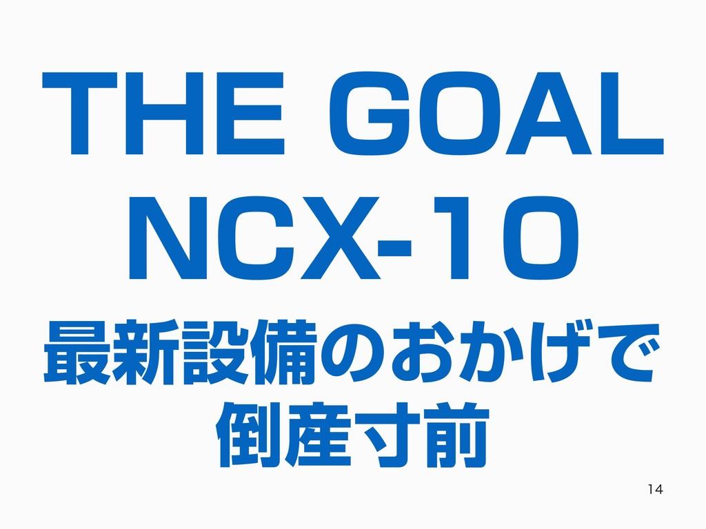 THE GOAL NCX-10   最新設備のおかげで 倒産⼨前