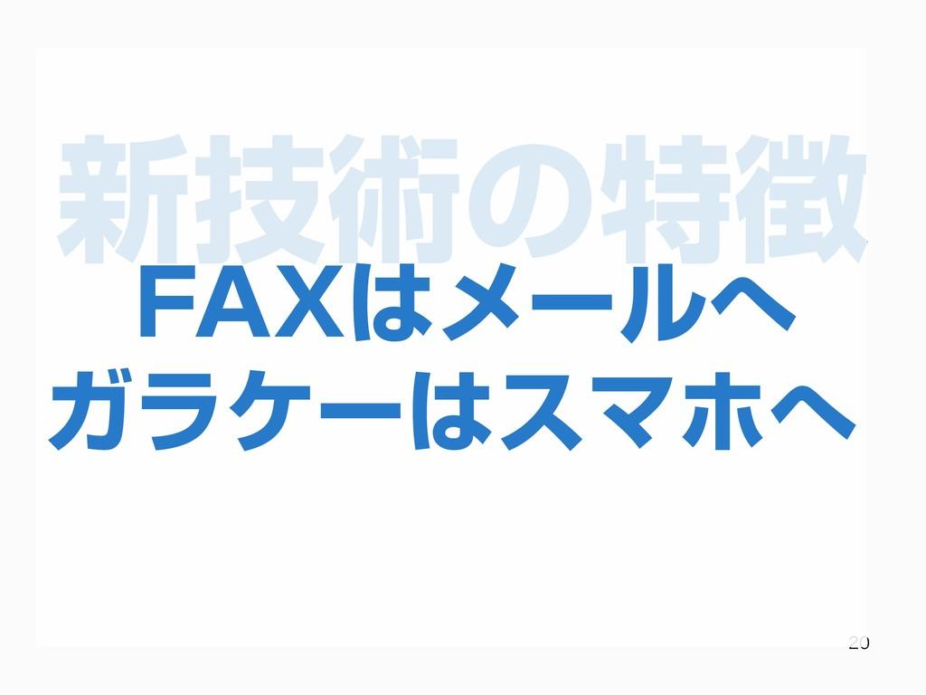 新技術の特徴   FAXはメールへ ガラケーはスマホへ