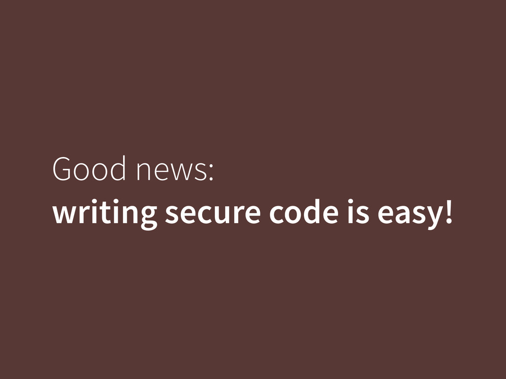 Good news: 