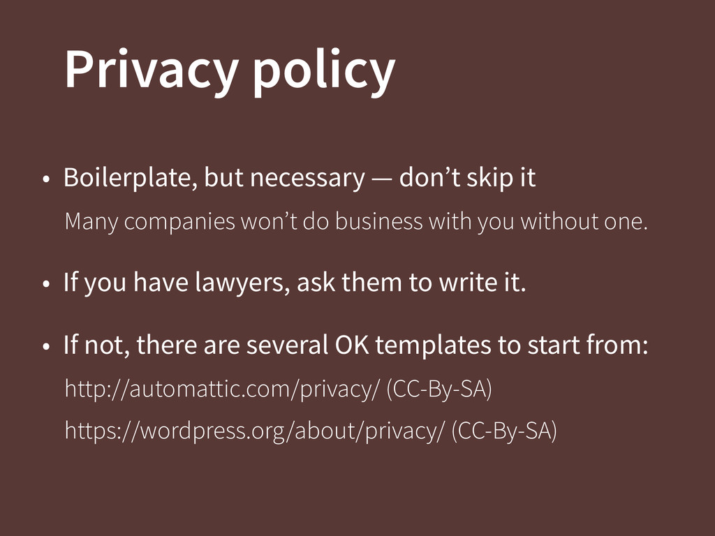 Privacy policy • Boilerplate, but necessary — d...