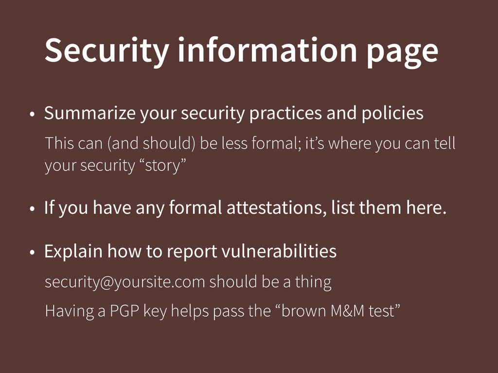 Security information page • Summarize your secu...