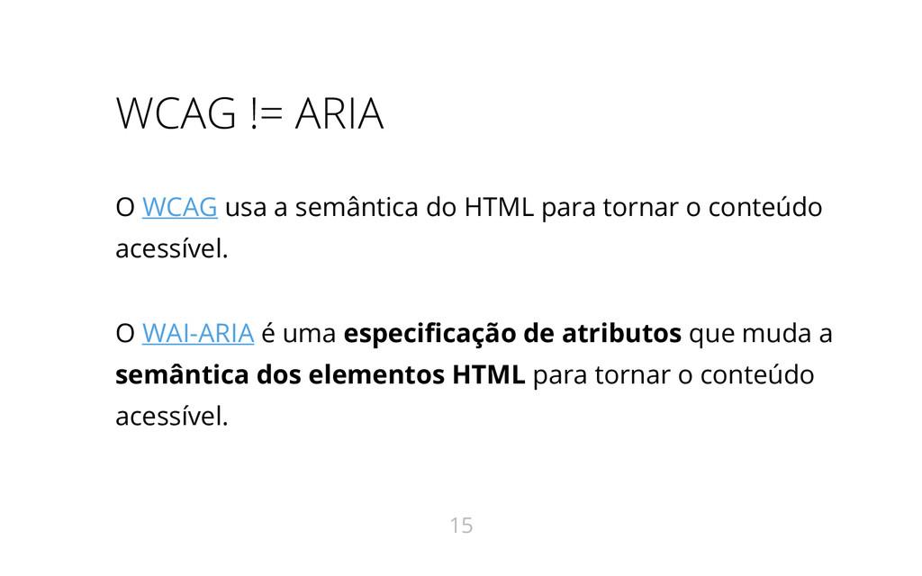 WCAG != ARIA O WCAG usa a semântica do HTML par...