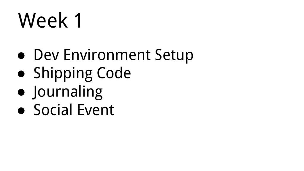 ● Dev Environment Setup ● Shipping Code ● Journ...