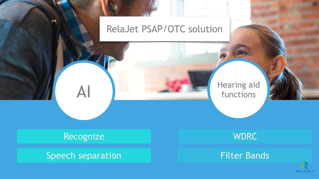 RelaJet PSAP/OTC solution AI Hearing aid functi...