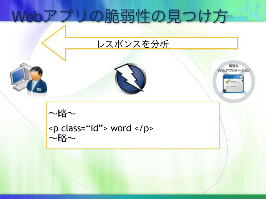 "WebΞϓϦͷ੬ऑੑͷݟ͚ͭํ ϨεϙϯεΛੳ ʙུʙ <p class=""id""> wor..."