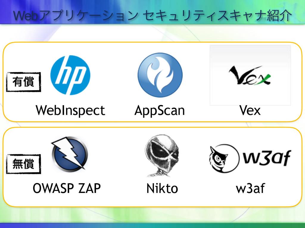 WebΞϓϦέʔγϣϯ ηΩϡϦςΟεΩϟφհ WebInspect AppScan Vex...