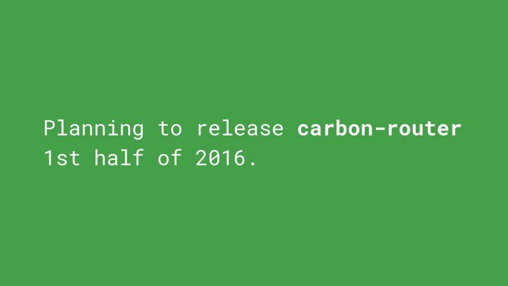 Planning to release carbon-router 1st half of 2...