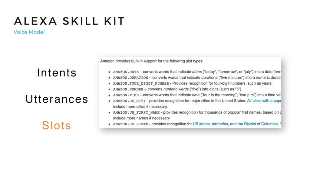 ALEXA SKILL KIT Voice Model Intents Utterances ...
