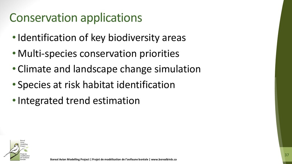 37 37 •Identification of key biodiversity areas...