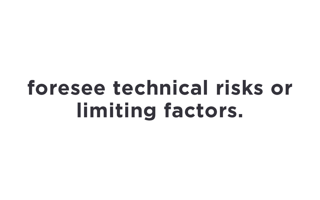 foresee technical risks or limiting factors.
