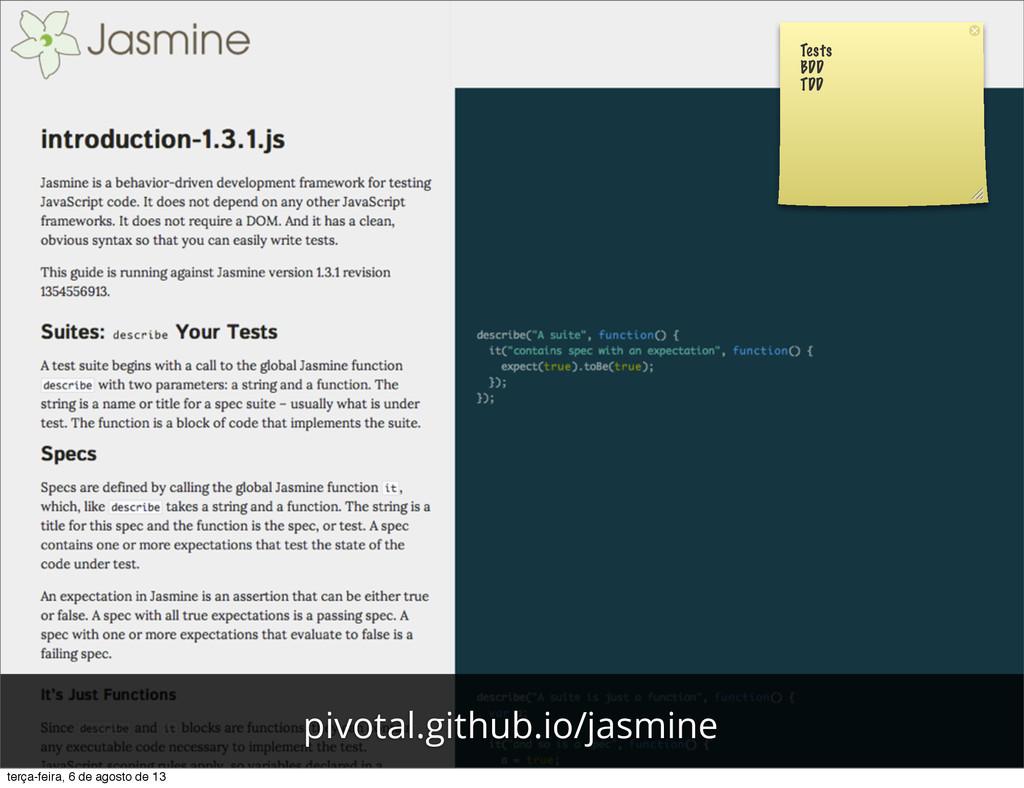 Tests BDD TDD pivotal.github.io/jasmine terça-f...