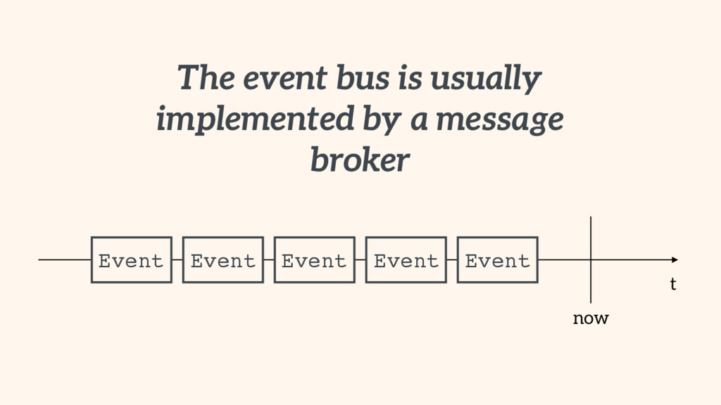 The event bus is usually implemented by a messa...