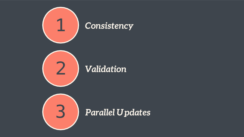 1 Consistency 2 Validation 3 Parallel Updates