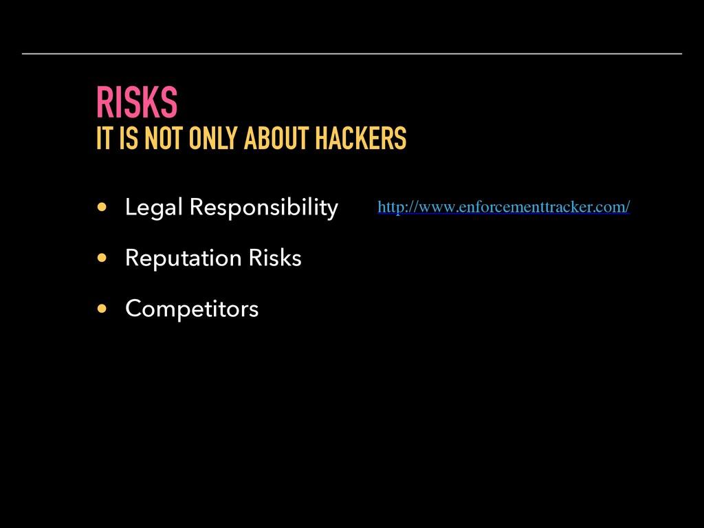 RISKS • Legal Responsibility • Reputation Risks...